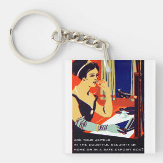 C. 1915 Are Your Jewels Safe Double-Sided Square Acrylic Keychain