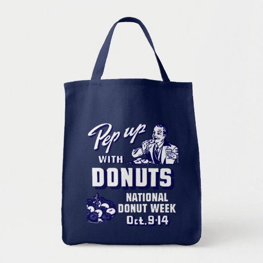 C. 1935 Pep Up with Donuts Poster Grocery Tote Bag