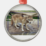 c-2011-grey-wolf-011 christmas tree ornament