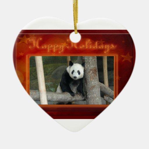 c-2011-panda-0024 adorno navideño de cerámica en forma de corazón