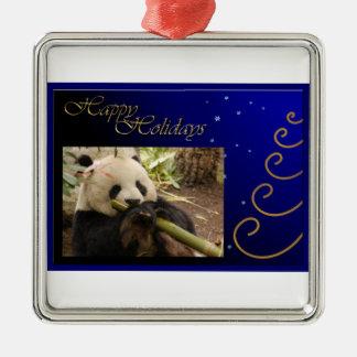 c-2011-panda-0052 adorno navideño cuadrado de metal
