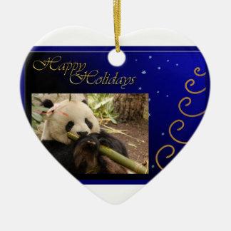c-2011-panda-0052 adorno navideño de cerámica en forma de corazón