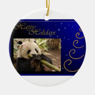 c-2011-panda-0052 adorno navideño redondo de cerámica