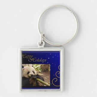 c-2011-panda-0052 llavero cuadrado plateado