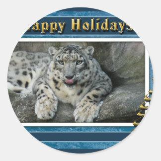 c-2011-snow-leopard-037 classic round sticker