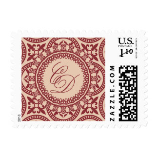 C and D cranberry and rose gold stamp