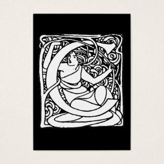 C-Art Nouveau Lady Initial Business Card