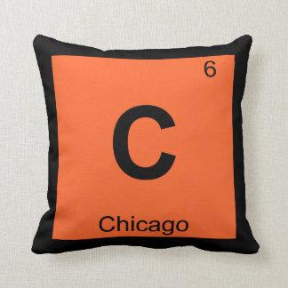 C - Chicago Illinois City Chemistry Periodic Table Throw Pillow