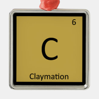 C - Claymation Animation Chemistry Periodic Table Christmas Ornament