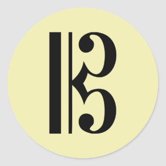 C-Clef Music Symbol Classic Round Sticker