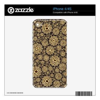 (c) de oro floral trippy iPhone 4 calcomanías
