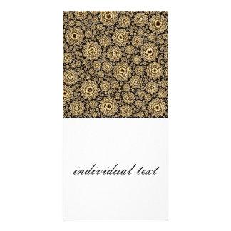 (c) de oro floral trippy tarjetas fotográficas