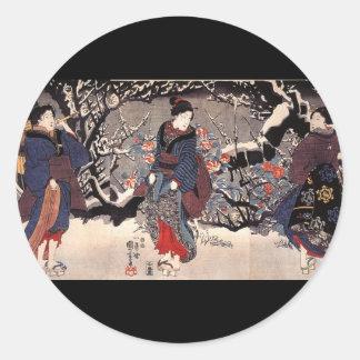 C. de pintura japonesa 1800's pegatina redonda