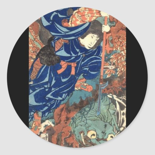 C. de pintura japonesa 1800's pegatinas redondas