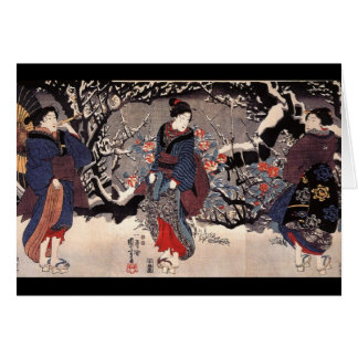 C. de pintura japonesa 1800's tarjeta de felicitación