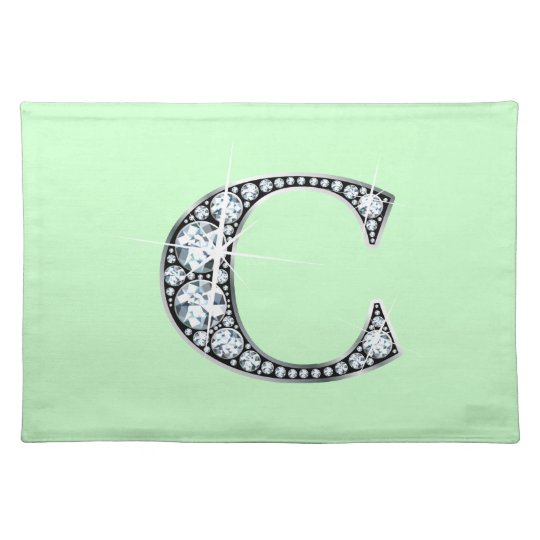 """C"" Diamond Bling American MoJo Placemat"