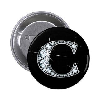 """C"" Diamond Bling Button"