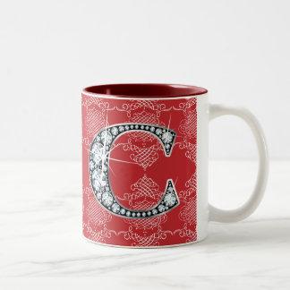 """""""C"""" Diamond Bling on Knotted Damask Mug"""