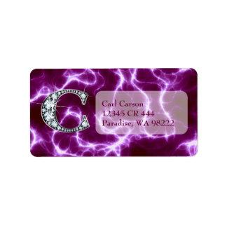 "C ""Diamond"" Monogram on Lightning Bolt Label"