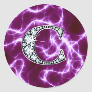 "C ""Diamond"" Monogram on Lightning Bolt Round Stickers"