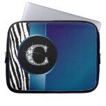 "C ""Diamond"" Zebra Stripe Ribbon Electronics Bag Laptop Sleeve"