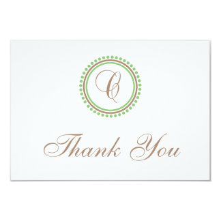 C Dot Circle Monogam Thank You Cards (Brown/Mint)
