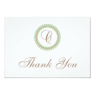 C Dot Circle Monogam Thank You Cards (Brown/Mint)