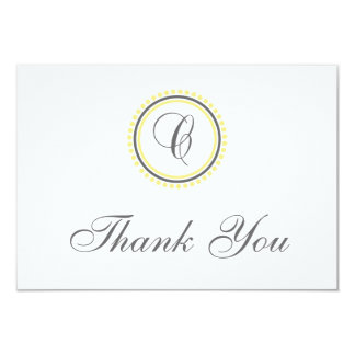 C Dot Circle Monogam Thank You Cards (Yellow/Gray)