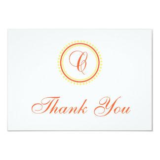 C Dot Circle Monogam Thank You (Orange / Yellow) 3.5x5 Paper Invitation Card
