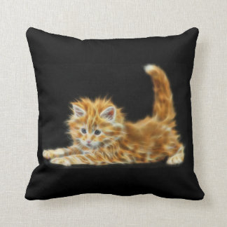C.E. Ginger Kitten Fractal Toss Pillow