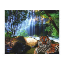 C.E. Tiger By Jungle Falls Wrapped Canvas