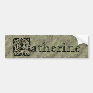 C - Embossed Vintage Monogram (Gold) Bumper Sticker
