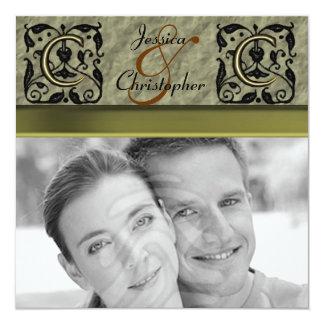 C - Embossed Vintage Monogram (Gold) (Wedding) Card