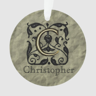 C - Embossed Vintage Monogram Ornament