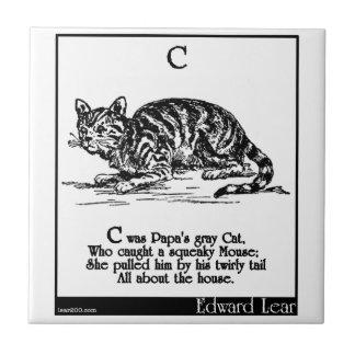 C era el gato gris de la papá azulejo cuadrado pequeño