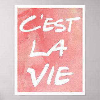 C est La Vie Hand Lettering Poster - Watercolor