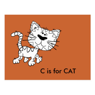 """""""C"""" está para el alfabeto Flashcard del gato Tarjeta Postal"""