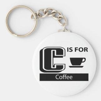 C está para el café llavero redondo tipo pin