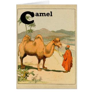 C está para el camello - alfabeto del libro de la tarjeta de felicitación