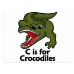 C está para el cocodrilo tarjetas postales