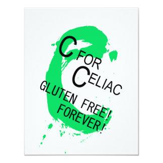 """C está para el gluten celiaco libre para siempre invitación 4.25"""" x 5.5"""""""