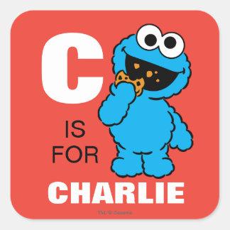 C está para el monstruo de la galleta pegatina cuadrada