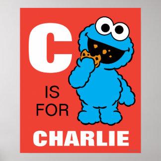 C está para el monstruo de la galleta póster