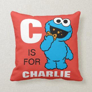 C está para el monstruo de la galleta que los | cojín decorativo