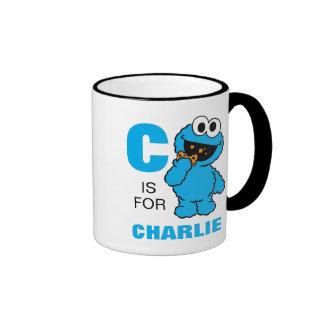 C está para el monstruo de la galleta taza de dos colores
