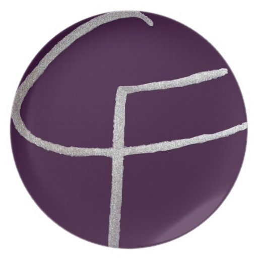 C & F initial Dinner Plate