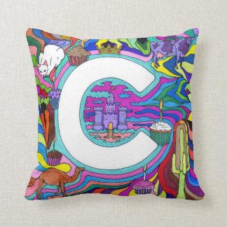 C Fantasy Design Letter Throw Pillow