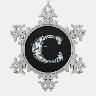 "C Faux-""Diamond"" Monogram Snowflake Pewter Christmas Ornament"