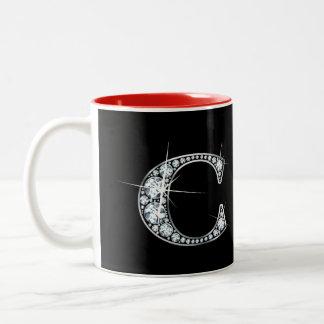 """C Faux-""""Diamond"""" Monogram Two-Tone Coffee Mug"""