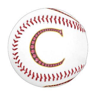 """C Faux-""""Ruby"""" Monogram Baseball"""